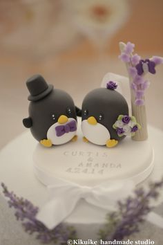 Penguins with flower tree Wedding Cake Topper by kikuike on Etsy