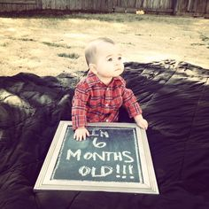 Baby boy 6 months pictures announcement age cute handsome outdoor chalkboard 1/2 birthday plaid button up shirt