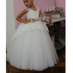 86b67abacd5 Cap Sleeves Lace Tulle Flower Girl Dress First Communion Dress for Baby  Girls
