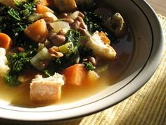 A light but hearty and healthy Italian bean and kale soup — perfect and comforting https://foodandspice.blogspot.com/2009/04/tuscan-style-pinto-bean-soup-with-kale.html