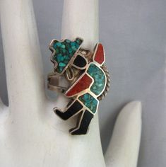 Vintage 1986 G/&S Turquoise Inlay Butterfly Cuff Bracelet