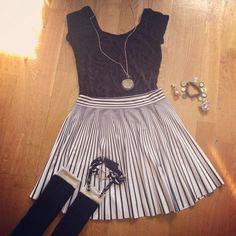 Black Milk Burned Velvet Capped Sleeve Bodysuit, Evil Henchmen Cheerleader Skirt, Creepyyeha Garter
