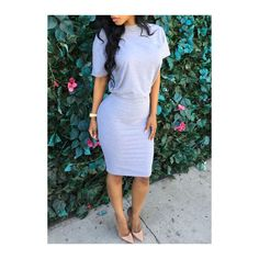 Rotita Round Neck Solid Grey Sheath Dress ($15) ❤ liked on Polyvore featuring dresses, grey, grey dress, print dress, gray dress, round neckline dress and sleeve dress
