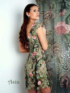 Tina's handicraft : quality and creating amazing flower dress Irish Crochet Patterns, Lace Patterns, Clothing Patterns, Rose Dress, Flower Dresses, Freeform Crochet, Crochet Lace, Lace Outfit, Irish Lace
