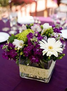 wedding Purple And Green Wedding Centerpieces with silver ribbon