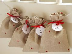 Countdown till Christmas advent calendar bags red by Luciadesign