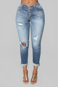 89a7924a Tyra Distressed Boyfriend Jeans - Medium Blue Wash