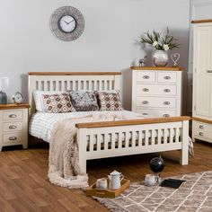 There's no better way to the sleep than with a King Size Wooden Bed Frame, so why not treat yourself to some artisan craftsmanship? The Hampshire Ivory Painted Oak King Size Bed Frame allows you to rest and relax like never before, all whilst adding a Painted Bed Frames, Painted Beds, Wooden Bed Frames, Wooden Double Bed Frame, Bed Frames Uk, White Wooden Bed, Double Beds, Camas Murphy, Murphy-bett Ikea