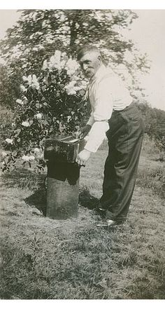 Ben Henneberry, Devil's Island, in our garden Evergreen, Dart. with melodeon used for collecting tunes Cape Breton, Nova Scotia, Historical Photos, Evergreen, Archive, Knowledge, Island, History, Garden
