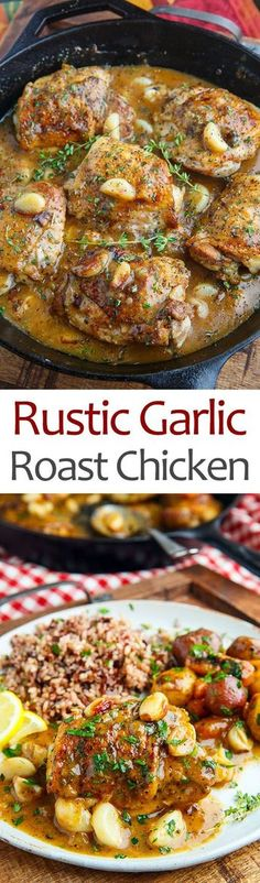 Rustic Roasted Garlic Chicken with Asiago Gravy
