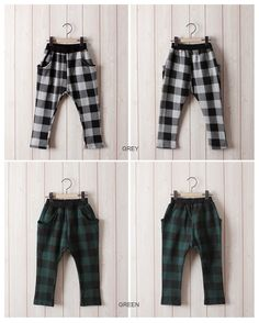 Large Gingham Slouchy Pants for boys and girls 2-7. Cool kids fashion at Color Me WHIMSY this fall season.