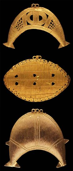 Africa | Pendants from the Akan people of the Ivory Coast || Top) W. 8.2cm. 10k gold.