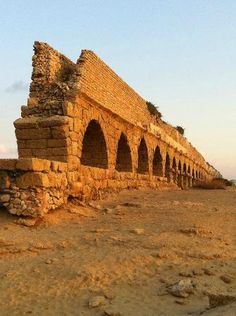 (Caesarea Aqueduct). Ancient Roman Aqueduct, Caesarea, Israel. The aqueduct that brought it freshwater might be Caesarea Maritima's most spectacular ruin. But the city that the biblical King Herod had built on Israel's Mediterranean shores was, above all, a seaport. https://www.facebook.com/Nuestro-Dios-Jehov%C3%A1h-443323375834518/timeline/