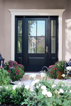 Finally revealing my Front Door Reveal with Andersen Windows and Doors. My front door is a DREAM and I am thrilled to share it completely finished. Black Exterior Doors, Black Entry Doors, Front Door Entryway, House Front Door, Black Door, Front Door Molding, Painted Exterior Doors, Front Door Trims, Exterior Entry Doors
