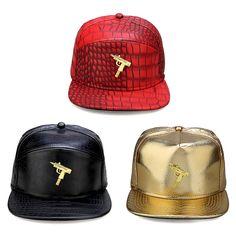 2016 High Quality New Red Black Golden Alligator Pattern Baseball Cap PU Adult Street Hip Hop Snapback Hat Cap With Golden Gun