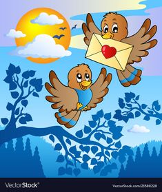Two cute birds with love letter 2 vector image on VectorStock Fairy Wallpaper, Bubbles Wallpaper, Drawing For Kids, Art For Kids, Animal Pictures For Kids, Sea Drawing, Animal Art Projects, Cartoon Birds, Poster Drawing