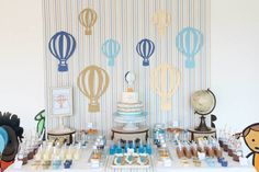 Hot Air Balloon themed birthday party with So Many Cute Ideas via Kara's Party Ideas! Full of decorating tips, cakes, cupcakes, favors, games, and MORE! #hotairballoon #hotairballoonparty #upupandaway #boyparty #partydecor #partyideas #partystyling #eventstyling (11)