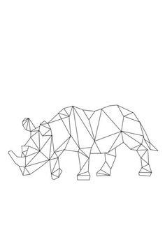 "Home Decor :: Children's decor :: ""Rhino"" print. Small 19 x Geometric Drawing, Geometric Art, Geometric Animal, Rhino Tattoo, Rhino Art, Handpoked Tattoo, Tape Art, Modelos 3d, Canvas Prints"