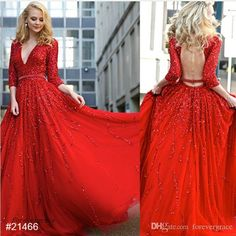 2017 Red Long Sleeves Evening Dress New Arrival Backless Prom Dress Formal Event Gown Plus Size Robe De Soire Vestido De Festa Longo Beautiful Evening Dresses Uk Best Evening Dress From Forevergrace, $140.21| Dhgate.Com