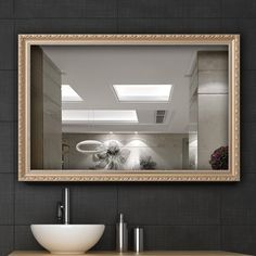 "Hans&Alice Clean Large Modern Rectangle Gold Framed Wall Mounted Mirror, Vanity, Bedroom, or Bathroom | Mirrored Rectangle Hangs Horizontal or Vertical, 32""x24"". (Gold(S))"