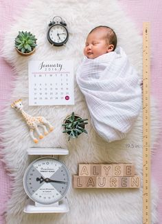 A creative newborn photo for birth announcement.
