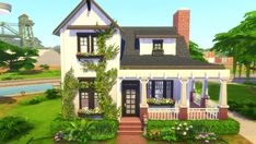 I built a small, more-or-less affordable farmhouse this time :) : thesims Sims 4 House Plans, Sims 4 House Building, Family House Plans, The Sims 4 Lots, Farmhouse Layout, Shell House, Sims 4 House Design, Casas The Sims 4, Sims 4 Cc Furniture