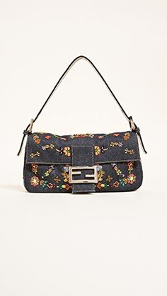 8556e2b27d82 Fendi Denim Beaded Baguette Bag (Previously Owned)