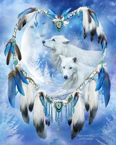 Even on the coldest night, when the world is painted in winter blue, there is always warmth and love, beating so strong and true, in the Heart of a Wolf. Heart Of A Wolf 4 art by Carol Cavalaris.