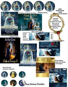 Beauty and the Beast Inspired Movie HUGE Party Package New! -Includes Invitation & Thank You Happy Birthday Banners, Birthday Cards, Beauty And The Beast Party, Banner Letters, Party Package, Tent Cards, Personalized Invitations, Party Signs, Best Graphics