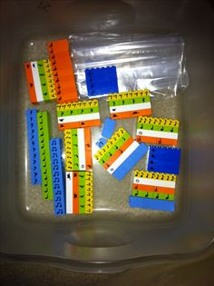 Music rhythm Legos for reading and simple composition.  Use sharpie to write notes on one side, rests on the other.