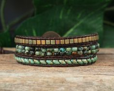 Beaded Leather Triple Wrap Bracelet - African Turquoise, Picasso Green Super Duos and Myuki Cube Beads on Dark Brown Distressed Leather