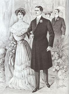 Wedding Apparel 1900 I selected this photo because I want to show you wedding dresses 1900. Trang phục cưới của cả nam và nữ trong thập niên 1900, phụ nữ dù mặc trang phục cưới vẫn phải mặc bên trong corset, nam giới sử dụng áo coat dài lịch lãm và cổ điển