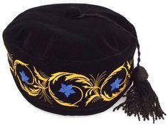 0fda8811fdf Imperial smoking hat Black cap Black tassel Blue embroidered flowers 61 cm  XL