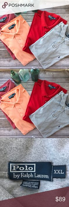 Polo Ralph Lauren FOUR Polo Classic Shirts XXL 4 classic Polo shirts in good to excellent used condition. The grey one has a few tiny holes on the back. No other holes, tears, or stains. All are Size XXL. Add to, or start, your collection of this classic comfortable cool shirt. Polo by Ralph Lauren Shirts Polos