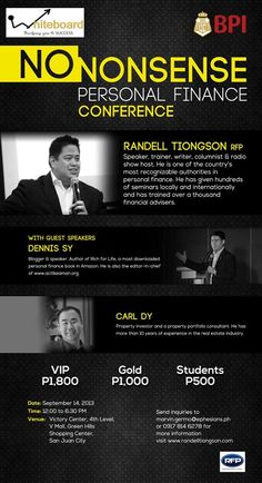 arn how to systematically achieved financial freedom, No Nonsense Personal Finance Conference – Randell Tiongson will lead the pack and tackle street-smart financial planning and ways to invest using your minimum wages. Financial Peace, Guest Speakers, Street Smart, Financial Planning, Personal Finance, Conference, Digital Marketing, Investing, Writer