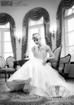 Team Oscar Lindell Photography, Valkoinen Kreivitär and Emma Krohn-Markkanen made this lovely photo in Haikko Manor, Porvoo. Modelling by a talented dancer from Finnish National Ballet! Hairpiece is from Ninka Design.The dress is almost completely made from recycled materials, using old wedding dresses. Maybe you could use your mothers dress as part of your dream gown? #Oscarlindell #weddinggown #häämekko #haikkomanor