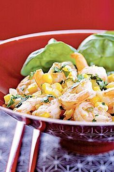 Serve over rice for a hearty dinner or over a bed of baby spinach for a lighter meal.#easyrecipes #quickeasyrecipes #quickrecipes Corn Relish Recipes, Baby Spinach, Light Recipes, Lighter, Potato Salad, Entrees, Shrimp, Seafood, Meals