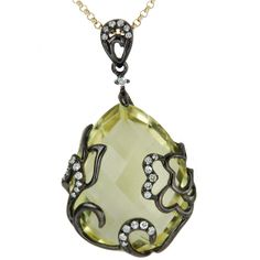 HOLIDAY SALE $231 Diamond and Lemon Quartz Briolette 14k Yellow & Black Gold Pendant wit | Jewelry District