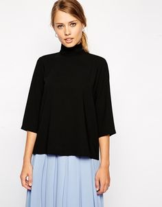 ASOS+Top+with+Clean+High+Neck+and+3/4+Length+Sleeves