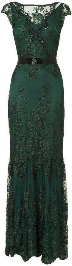 House of Fraser Phase Eight Cindy Green Lace and Sequin Long Dress. It reminds…