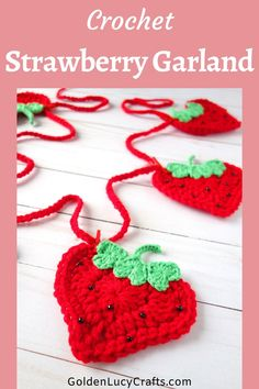 This crochet Strawberry garland or bunting is made from heart-shaped Strawberries! It will make a beautiful handmade summer decoration for your home. Free pattern, birthdays, DIY garden party kid's room, kitchen decor Crochet Pig, Cute Crochet, Easy Crochet, Diy Crochet Projects, Crochet Crafts, Crochet Ideas, Diy Projects, Room Kitchen, Kitchen Decor