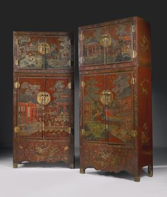 century chinoiserie lacquered cabinets from villa la fiorentina = auctioned at Sotheby's 2001 Antique Chinese Furniture, Asian Furniture, Oriental Furniture, Funky Furniture, Painted Furniture, Rustic Furniture, Antique Wood, Brown Furniture, Outdoor Furniture
