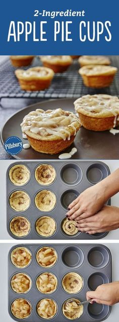 Yes, you can make tasty apple pie cups with just two ingredients! All you need is a can of Pillsbury™ refrigerated cinnamon rolls and some apple pie filling for an easy fall-inspired treat that serves (Apple Recipes Muffins) Mini Desserts, Easy Desserts, Delicious Desserts, Dessert Recipes, Yummy Food, Quick Dessert, Dessert Healthy, Easy Fall Deserts, Deserts For A Crowd