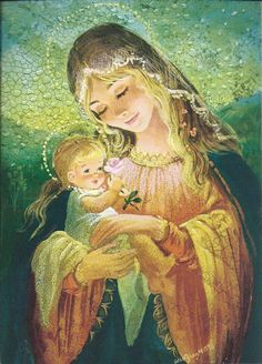 christmas card / Wolfgang M. Religious Pictures, Jesus Pictures, Religious Icons, Religious Art, Blessed Mother Mary, Blessed Virgin Mary, Mama Mary, Sainte Marie, Bride Of Christ