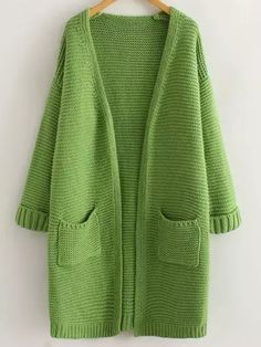 Green Long Sleeve Casual Pockets Cardigan
