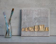Blattgold Malerei, Abstrakte Malerei, 20x20x1,5 cm, Blattgold, Malerei, Kästchen, Vierecke, Struktur Malerei, Kunst, Orangenschalen