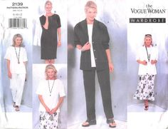 VOGUE 2139 - FROM 1998 - UNCUT - MISSES PETITE JACKET, DRESS, TOP, SKIRT, AND TROUSERS