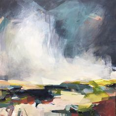 'So glad we came' abstract landscape painting 90 x 90cm by Alice Sheridan