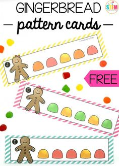Gingerbread men are a winter holiday and a great way to do some hands-on pattern practice! These gingerbread pattern cards are great to use as a playful math center, morning activity or homeschool game with preschool and toddlers! Gingerbread Man Activities, Gingerbread Crafts, Holiday Activities, Preschool Activities, Gingerbread Men, Gingerbread Man Kindergarten, Preschool Printables, Preschool Lessons, Holiday Crafts