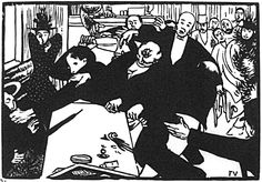 The brawl at the scene or cafe - Felix Vallotton